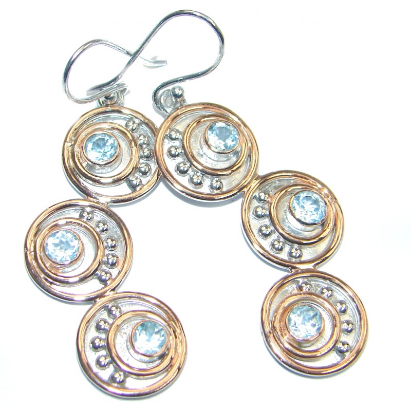 Genuine Swiss Blue Topaz Rose Gold plated over Sterling Silver Earrings