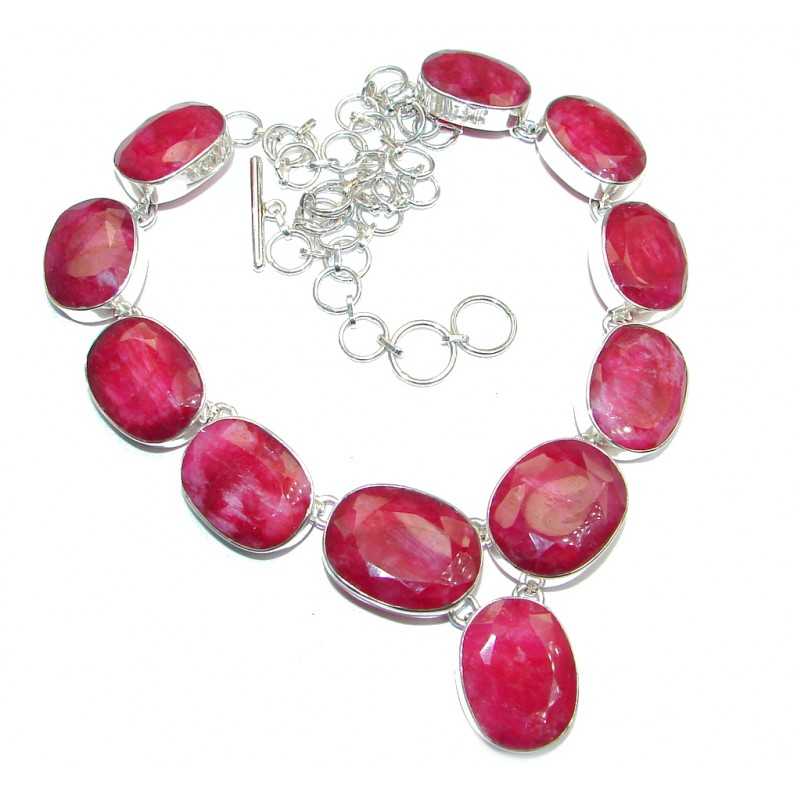 Huge natural Ruby Gold over Sterling Silver handmade necklace