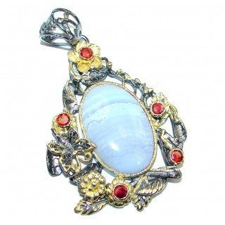 Perfect Light Blue Lace Agate Garnet Gold plated over Sterling Silver Pendant