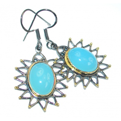 Chunky Style Blue Agate Gold Rhodium plated over Sterling Silver earrings