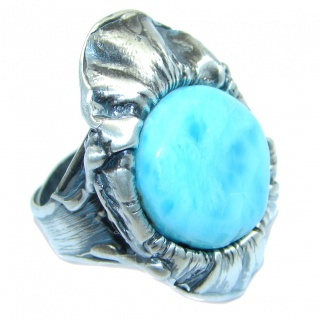 Solid Genuine Larimar Sterling Silver handmade Ring size adjustable