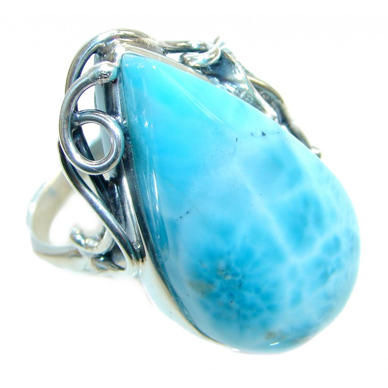 Large Chunky Genuine Larimar Sterling Silver handmade Ring size adjustable