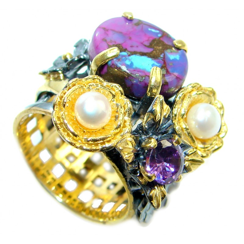 Beautiful Purple Turquoise Pearl Gold Rhodium plated over Sterling Silver Ring size 7