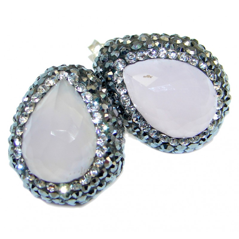 Beauty Pink Quartz Spinel Sterling Silver Earrings