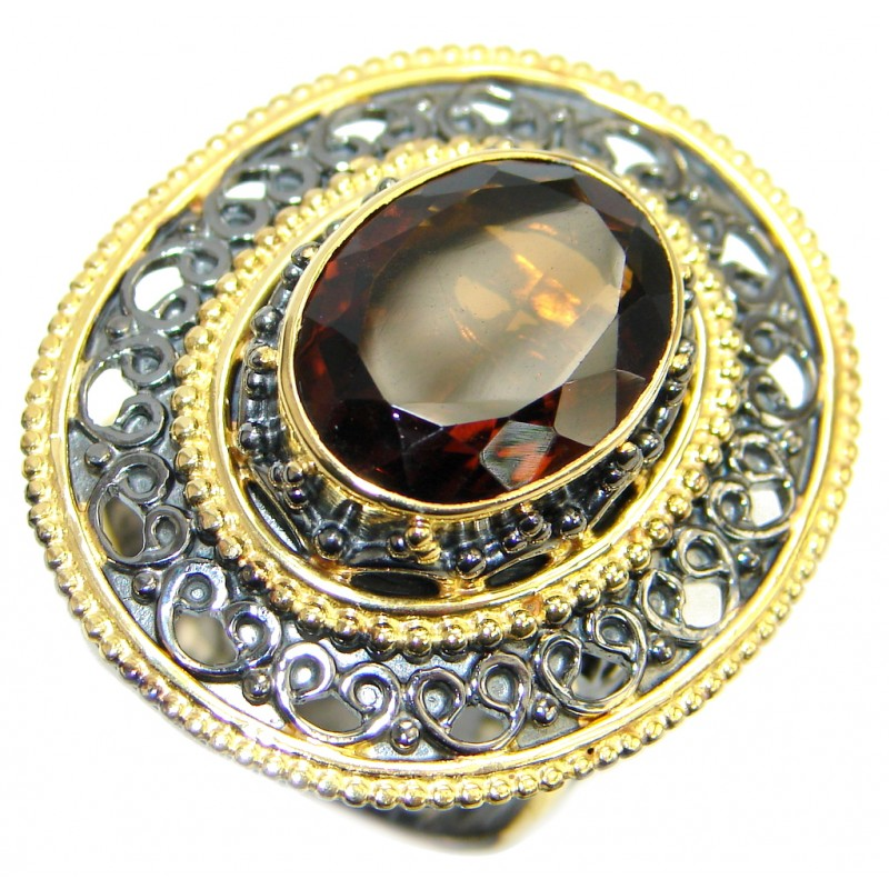 Large Champagne Smoky Topaz Gold plated Sterling Silver Ring size adjustable