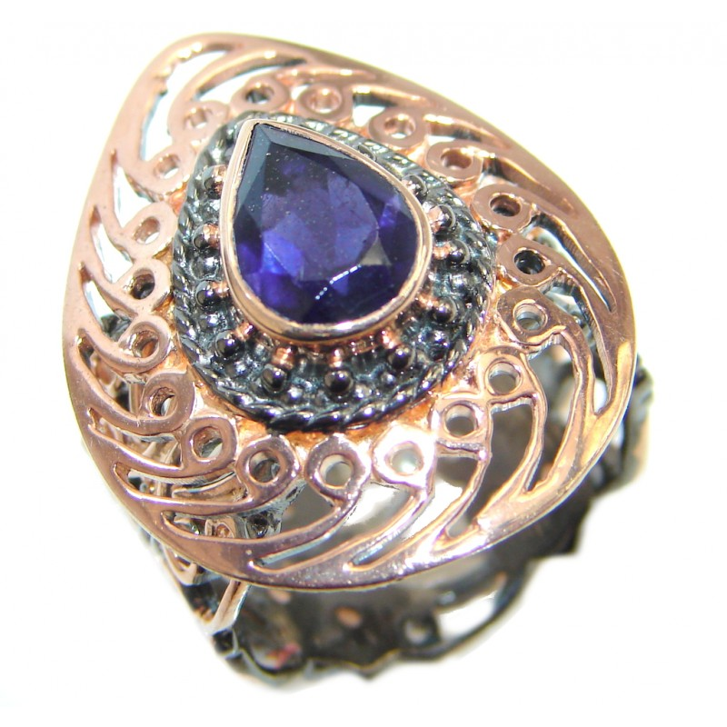 Genuine Iolite Rose Gold plated over Sterling Silver handmade ring size adjustable