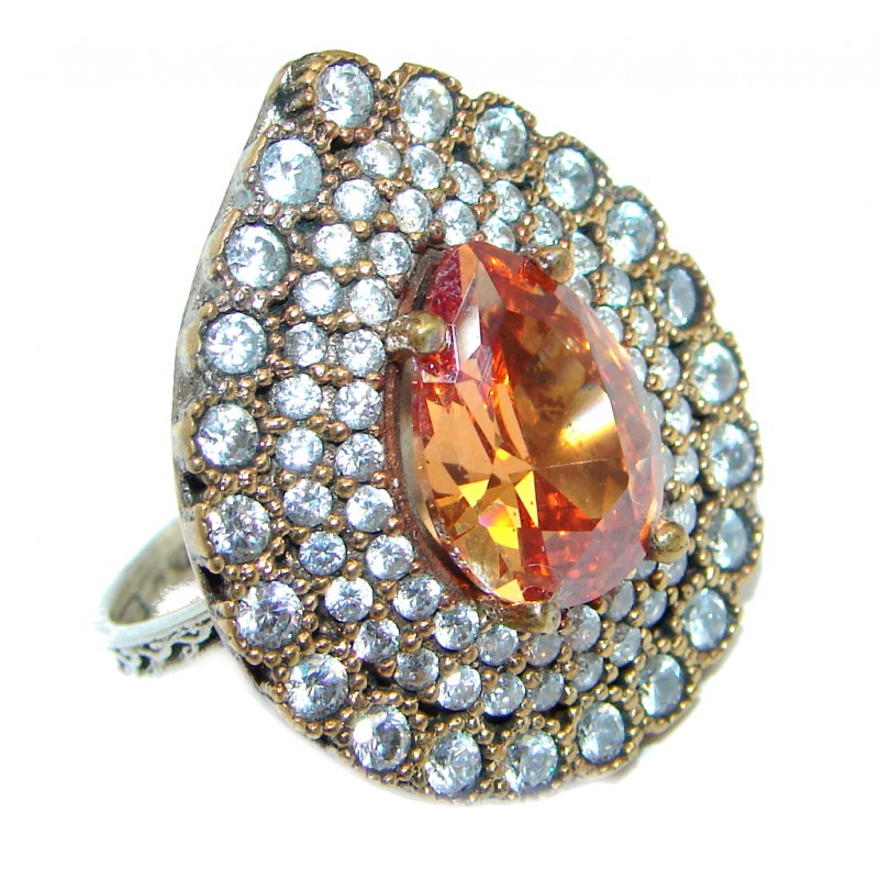 Spectacular created Golden Topaz Sterling Silver Ring size 8 1/4