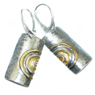 Back to Nature Two Tones Sterling Silver Italy made Earrings