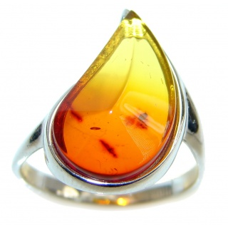 Fresh Amber Sterling Silver handmade ring; size 7 1/4