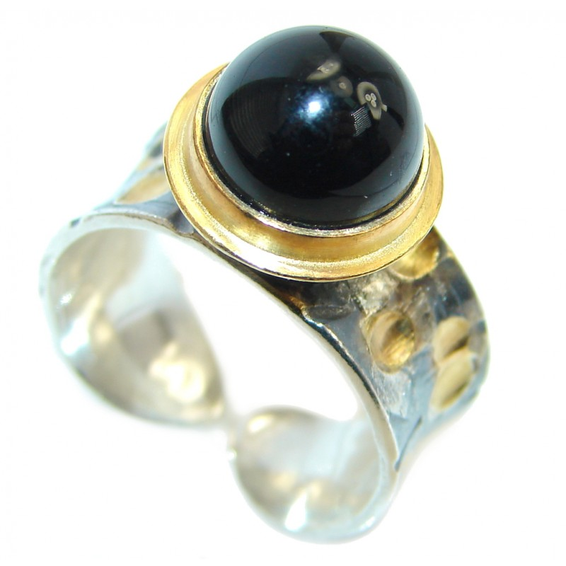 Black Onyx Two Tones Sterling Silver Italy made ring size adjustable