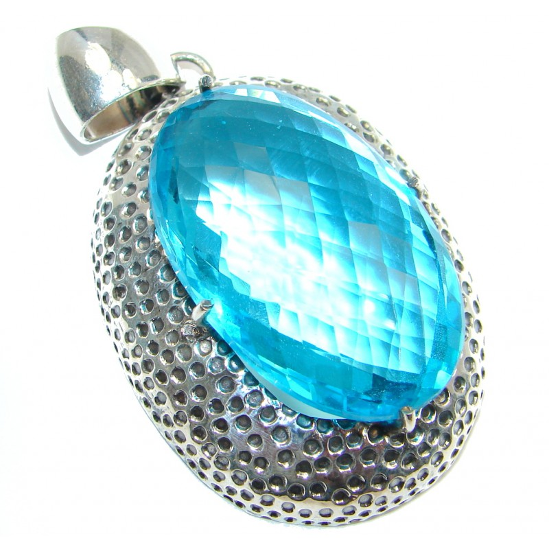 Huge Vintage Style created Blue Quartz Sterling Silver Pendant