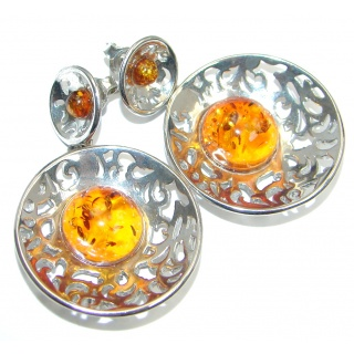 Baltic Amber Oxidized Sterling Silver handmade stud earrings