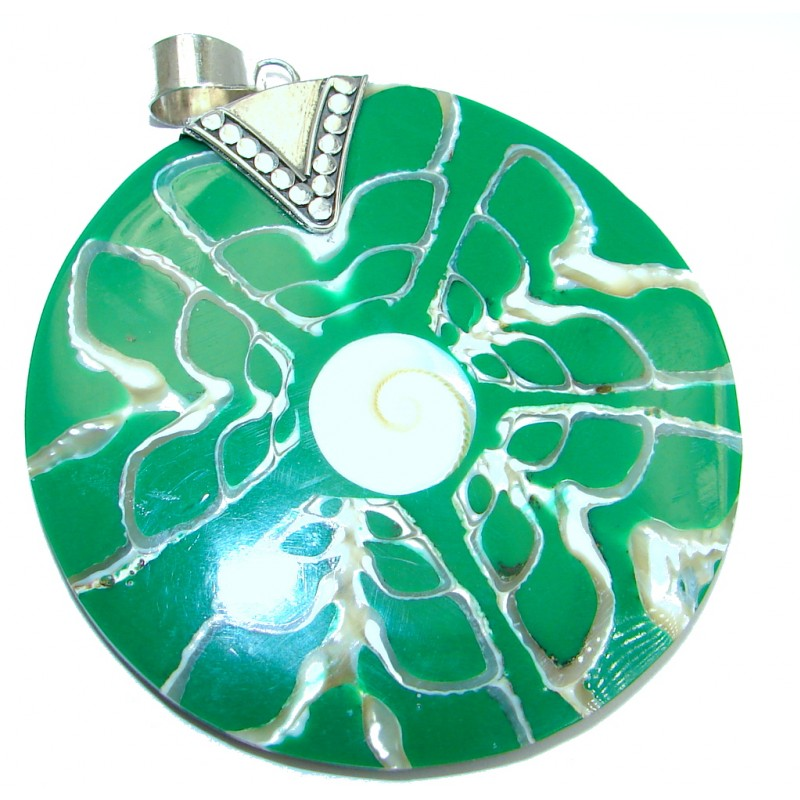Huge Evergreen Joy Ocean Shell Sterling Silver Pendant