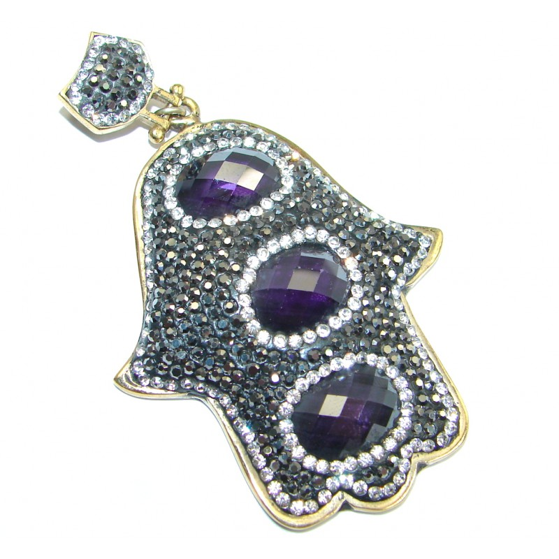 Huge Protective Hamsa Hand Purple Quartz & Spinel Sterling Silver Pendant