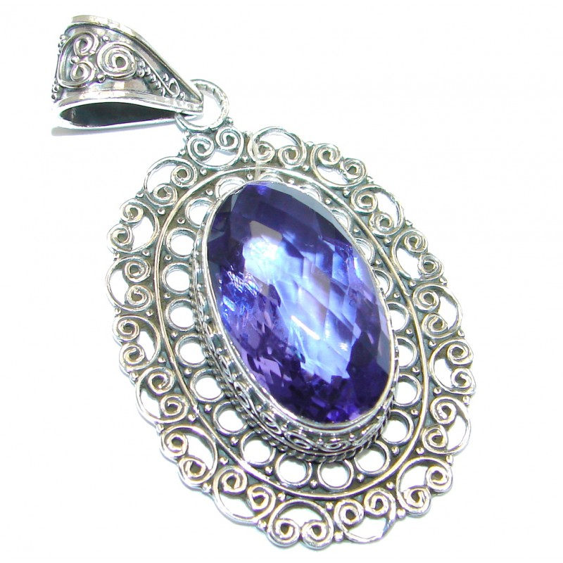 Huge Vintage Style created Tanzanite Sterling Silver Pendant
