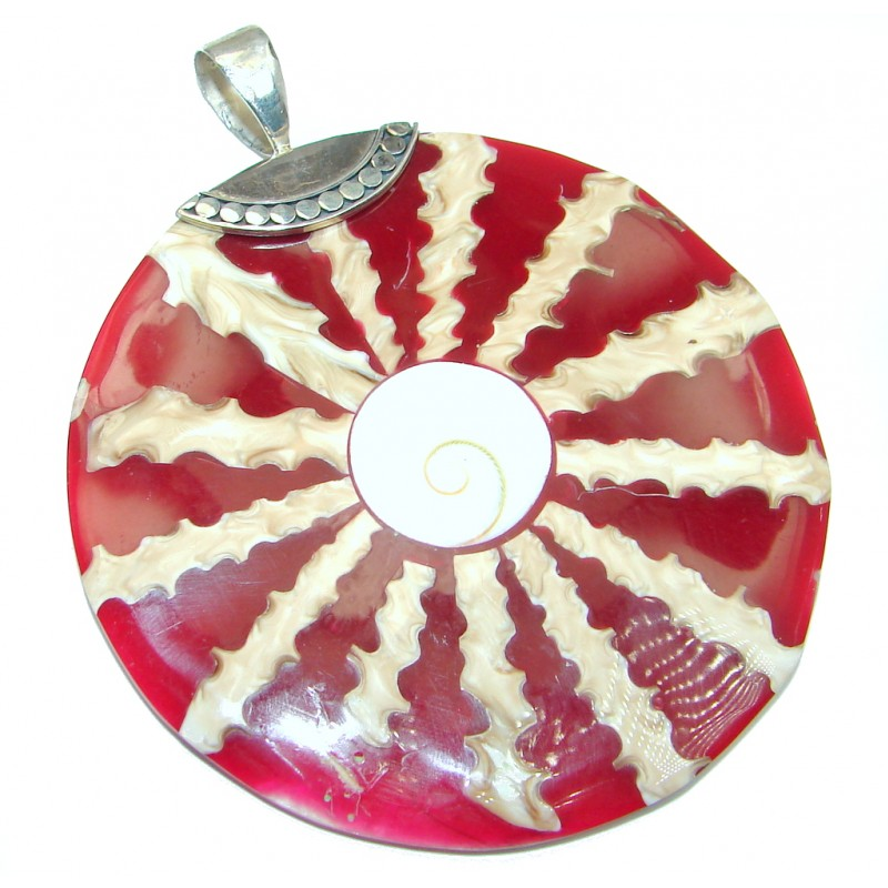 Big Fashion Red Shell Sterling Silver Pendant