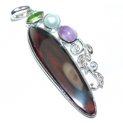 Great quality Montana Agate Sterling Silver handcrafted Pendant