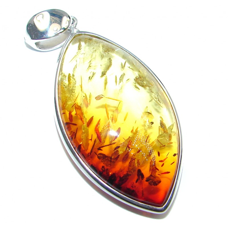 Incredible natural Baltic Amber Sterling Silver handmade Pendant