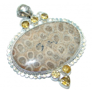 Huge Natural Fossilized Coral Citrine Sterling Silver Pendant