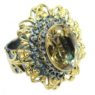 Natural Citrine Rhodium Gold plated over Sterling Silver ring size adjustable