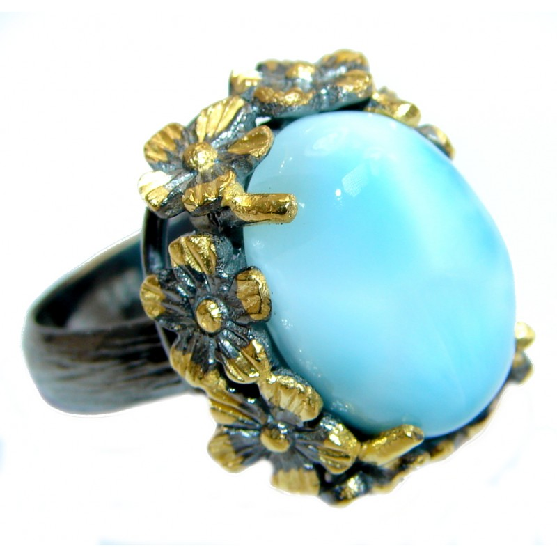 Natural AAA Blue Larimar Gold plated over Sterling Silver handmade rind size adjustable