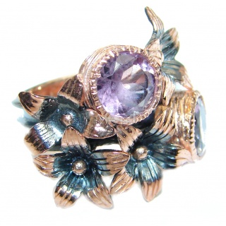 Genuine Amethyst Rose Gold plated over Sterling Silver handmade ring size 6