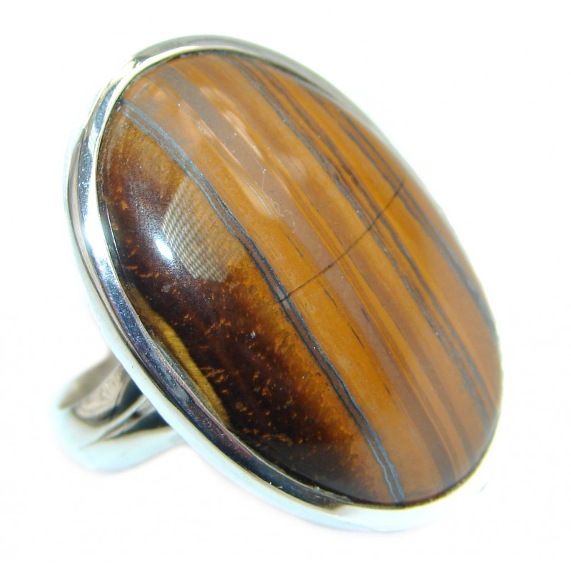 Simple Tigers Eye Sterling Silver ring size adjustable