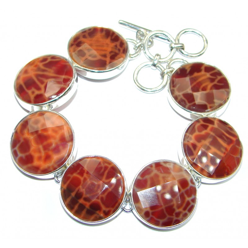 Genuine Orange Mexican Fire Agate Sterling Silver handmade Bracelet
