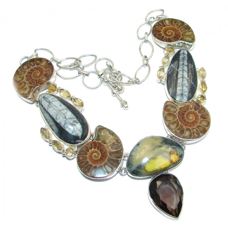 One of the Kind Ammonite Fossil Citrine Sterling Silver handcrafted necklace