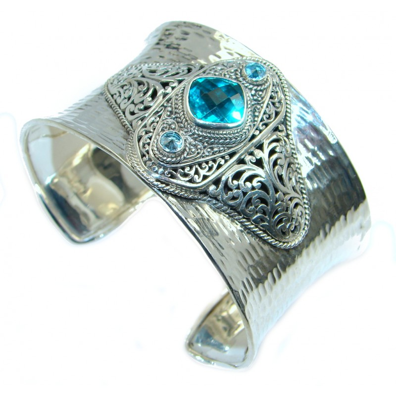 Luxury Aqua Magic Topaz Sterling Silver handmade Cuff/Bracelet