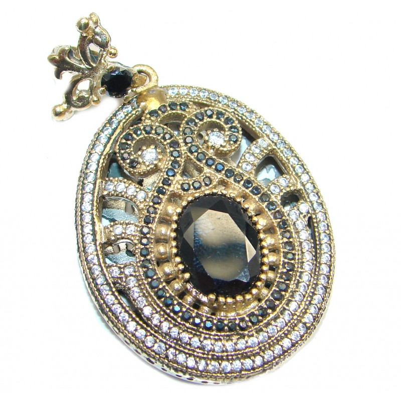 Vintage Style Exclusive Onyx Spinel copper plated over Sterling Silver Pendant