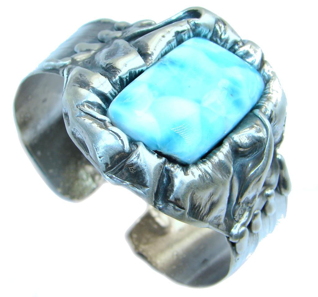 Large Genuine Blue Larimar Oxidized Sterling Silver