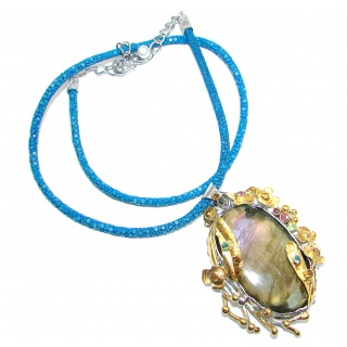 Marvelous quality Fire Labradorite Multigem Gold plated over Sterling Silver handmade necklace