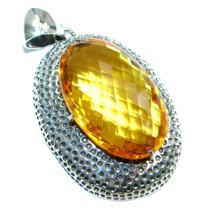 Huge Vintage Style created Yellow Quartz Sterling Silver Pendant