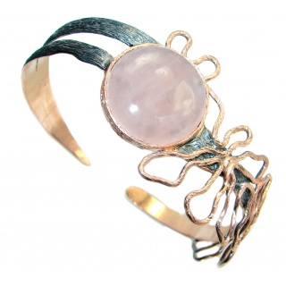 Modern Concept Rose Quartz Rose Gold plated over Sterling Silver Bracelet / Cuff