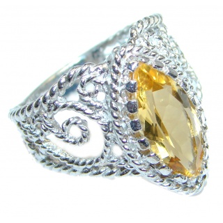 Natural Citrine Sterling Silver ring size 7