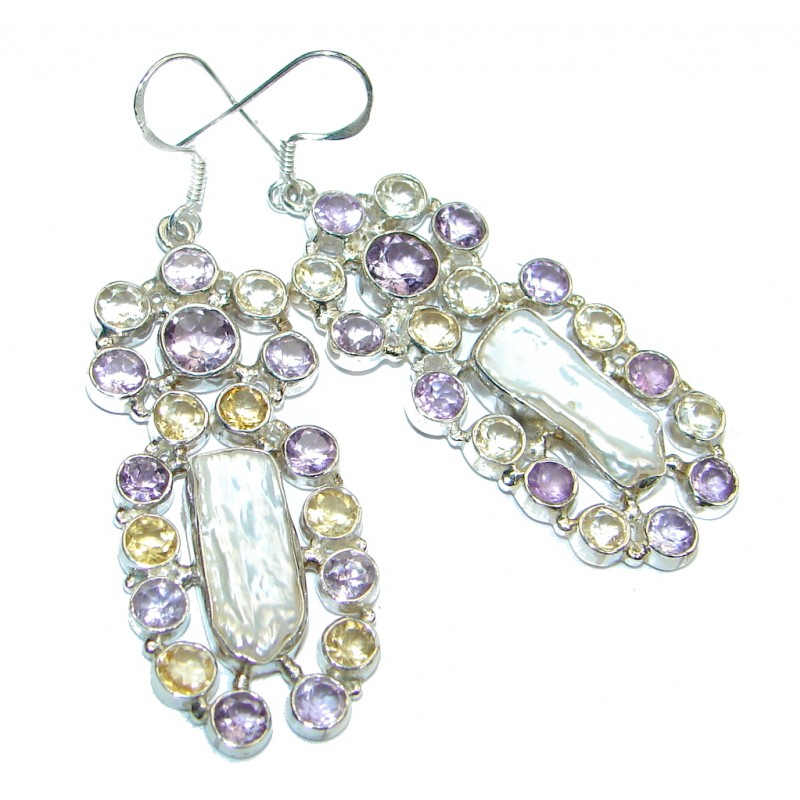 Stylish Mother of Pearl Sterling Silver earrings