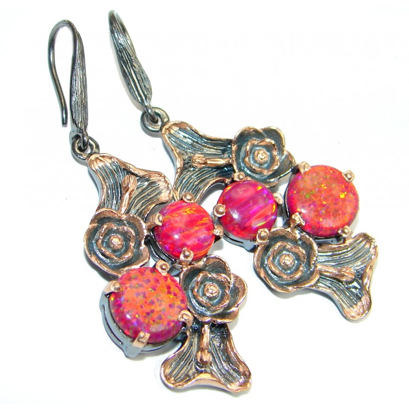 Charming Japanese Fire Opal Garnet Rose Gold plated over Sterling Silver earrings