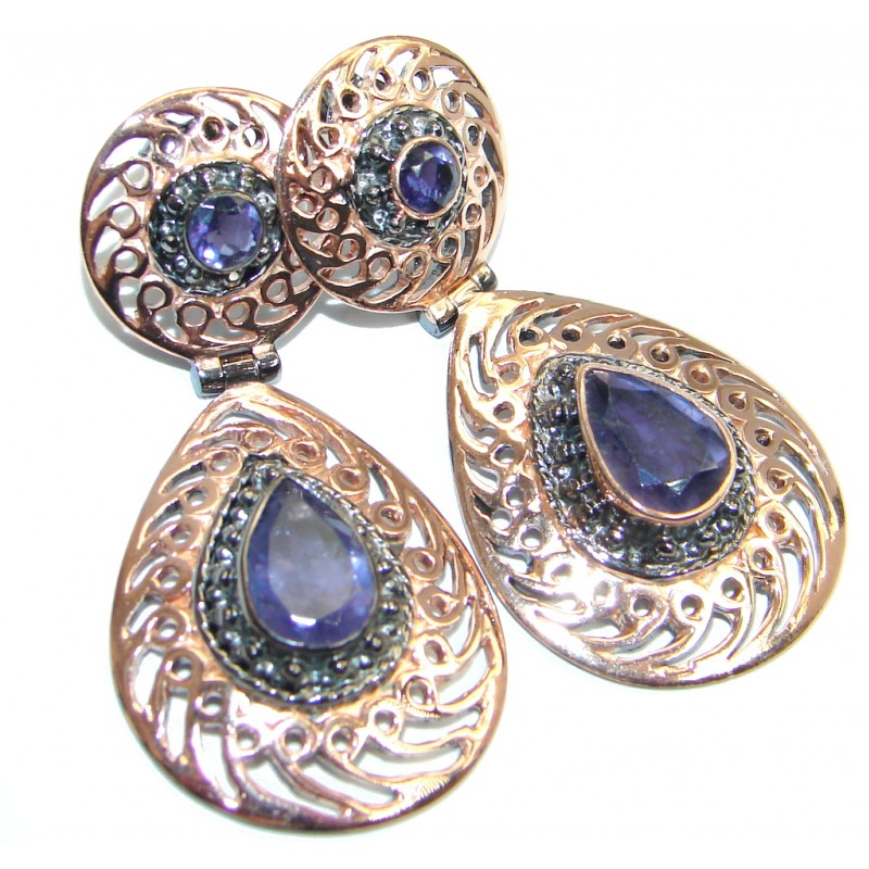 Genuine Iolite Rose Gold plated over Sterling Silver stud earrings