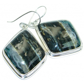 Natural Beauty Ocean Jasper Sterling Silver handmade Earrings