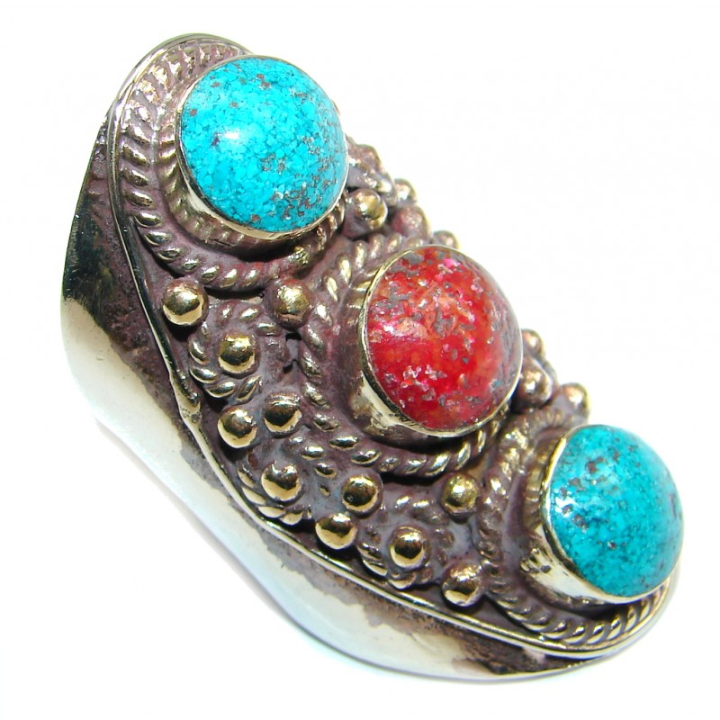 Large Fossilized Coral Turquoise Silver Tone Ring size 7 1/2