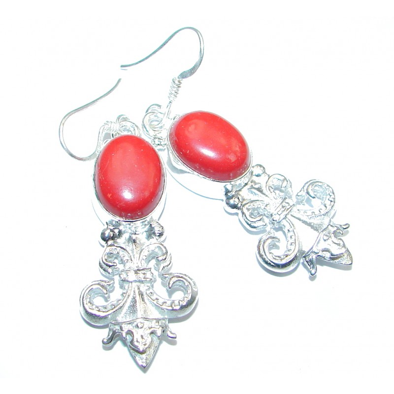 Great Coral Silver Tone earrings