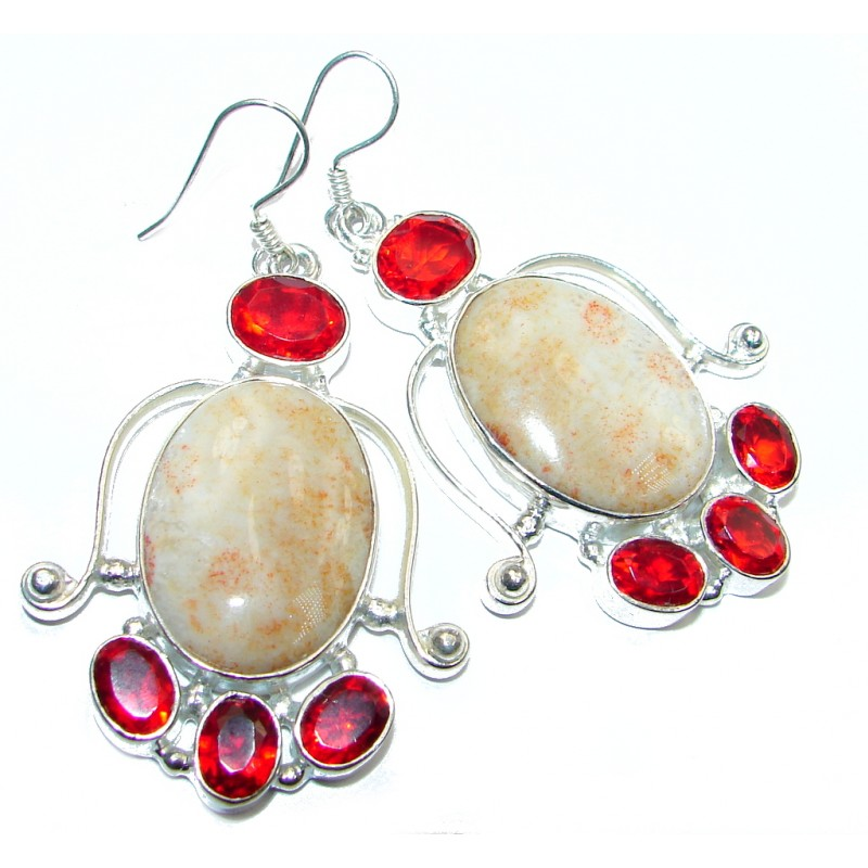 Great Fosillized Coral Quartz Silver Tone earrings