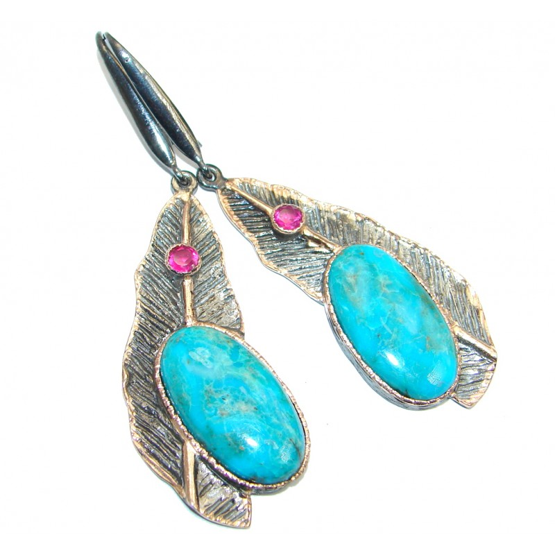 Large Fabulous Parrot's Wing Chrysocolla Garnet Gold plated over Sterling Silver earrings