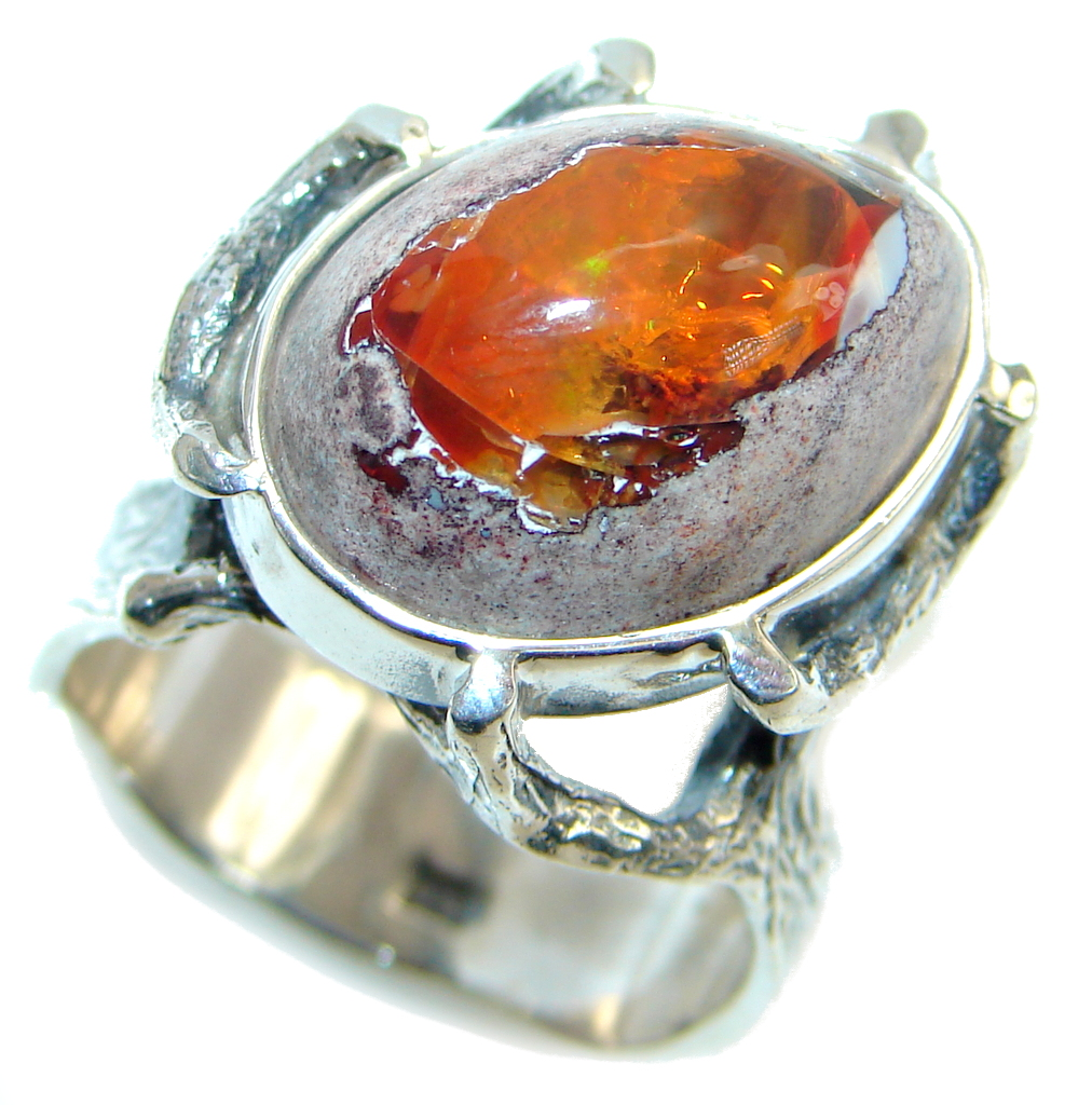 Mexican Fire Opal Oxidized Sterling Silver Handmade Ring