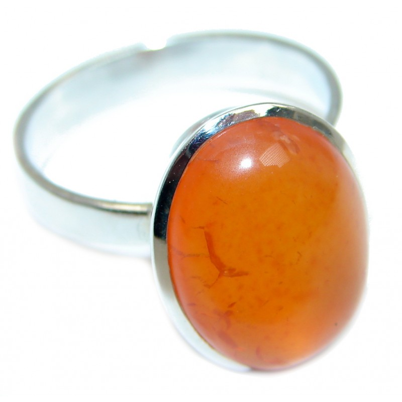 Precious Orange Carnelian Sterling Silver ring s. 10