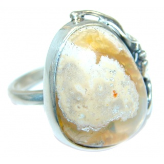 Mexican Fire Opal Oxidized Sterling Silver handmade Ring size adjustable