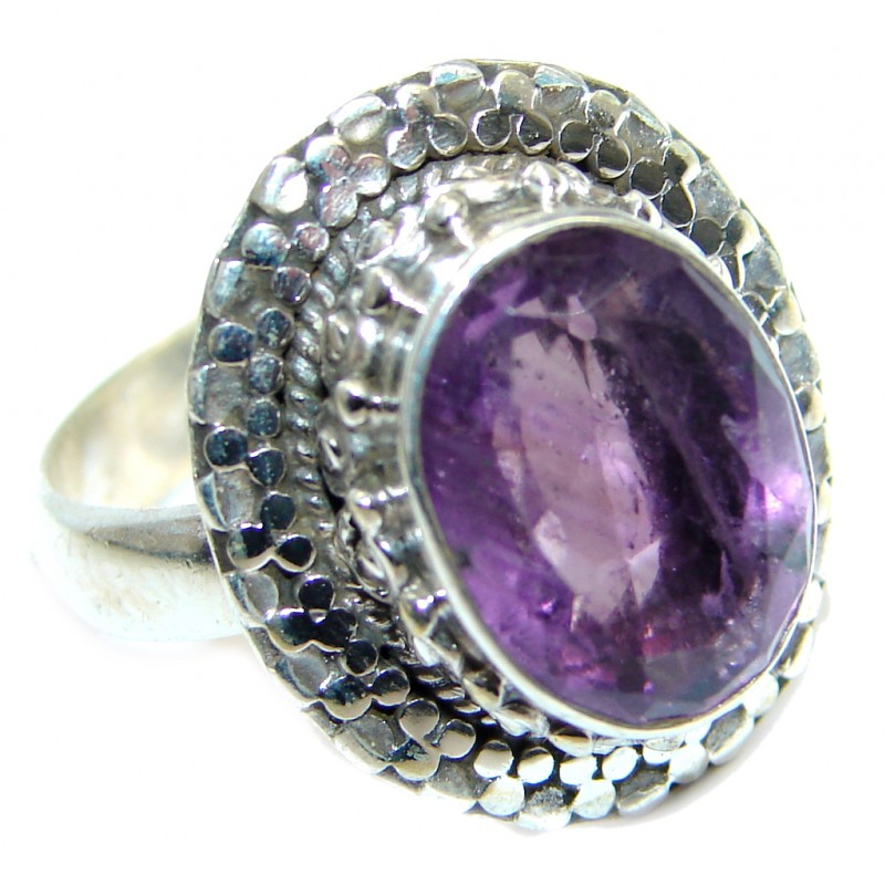 Amazing Natural Amethyst Sterling Silver handmade Ring size 7 1/2