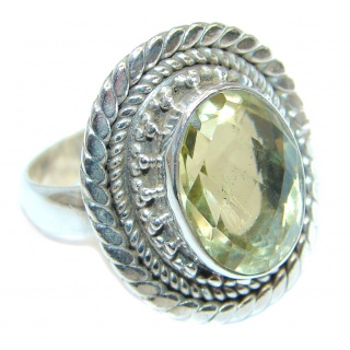 Golden Citrine Sterling Silver handmade Ring s. 8 1/2