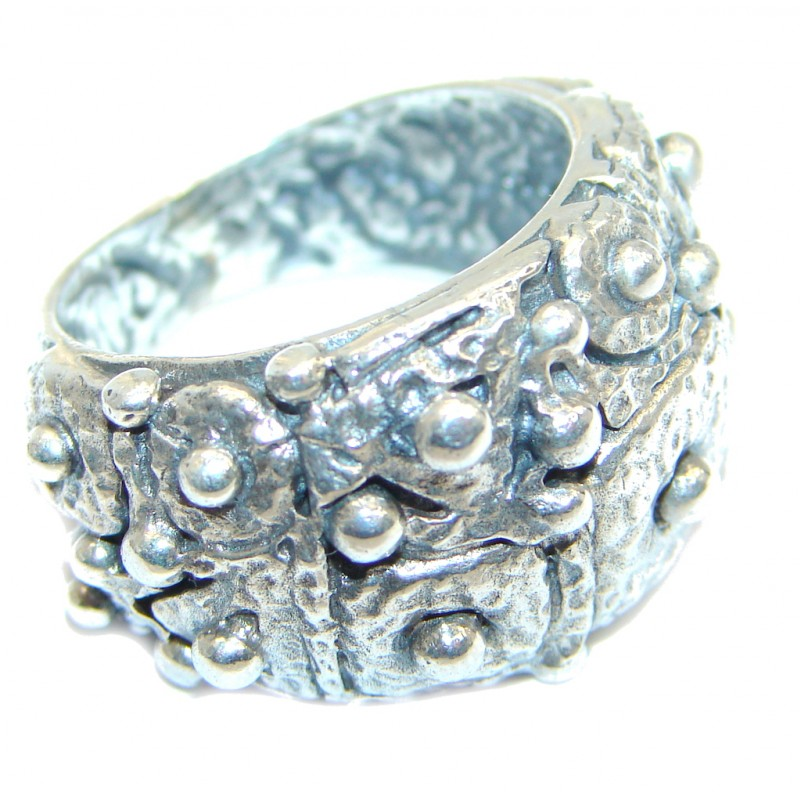 Great Italy made Oxidized Sterling Silver ring; s. 8 1/4